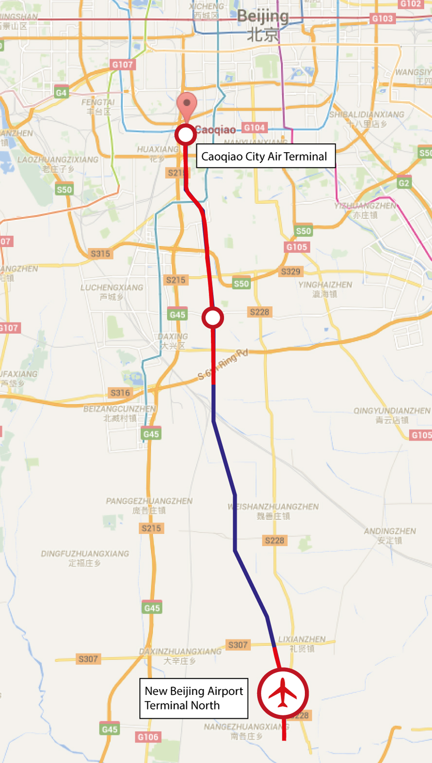 Beijing New Airport Rail Line Map2