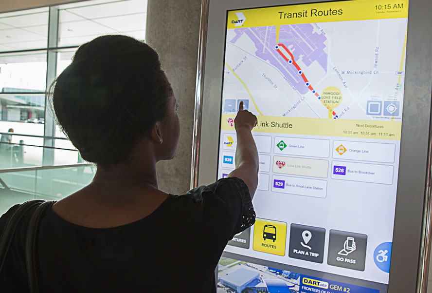 Interactive access information kiosk at Love Field Airport