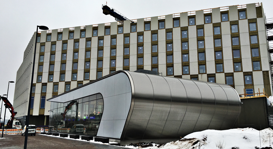 New Clarion Hotel being built at Aviapolis Station on Ring Rail Line