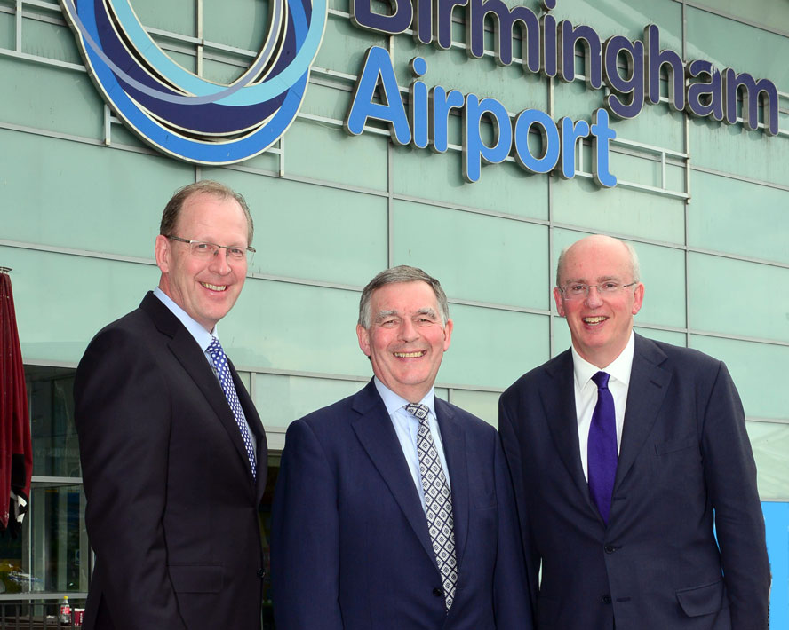 From left – Nick Barton, CEO of Birmingham Airport, Allan Cook, Chair of HS2 and Tim Clarke, Chair of Birmingham Airport.