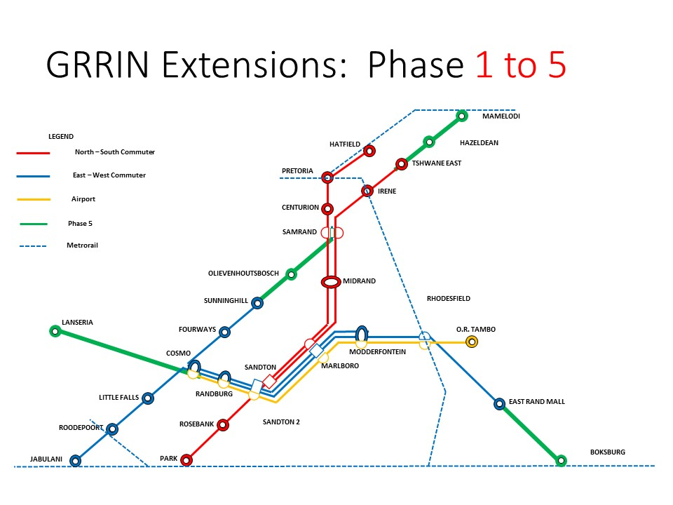Gautrain Extension map